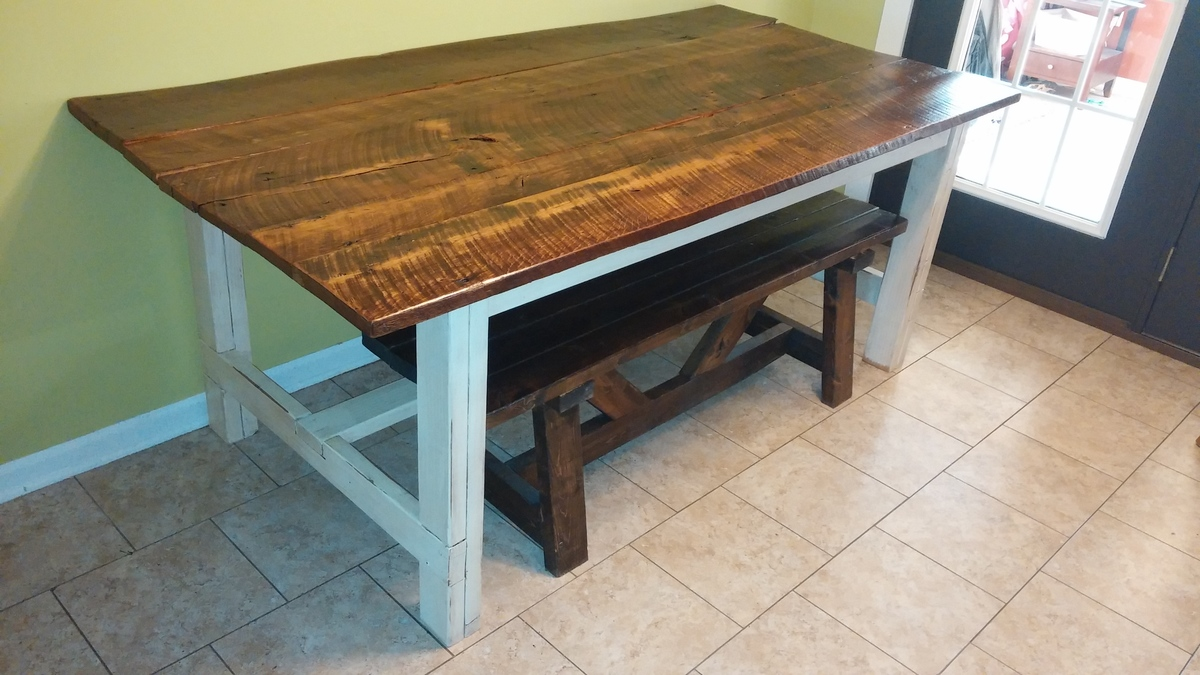 Ana White Old Barnwood Farmhouse Table DIY Projects - Salvaged wood farmhouse table