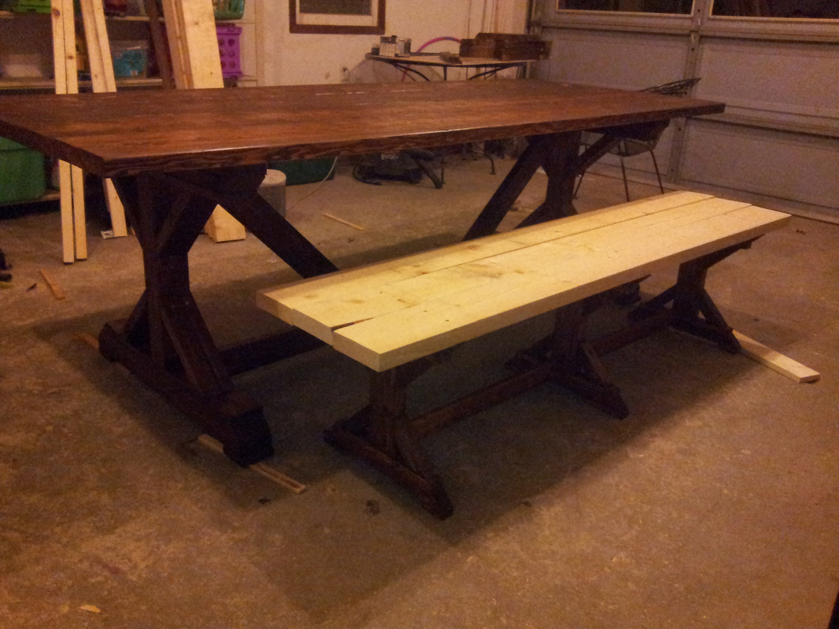 Ana White Fancy X Barn House Table And Benches DIY Projects - Barn house coffee table