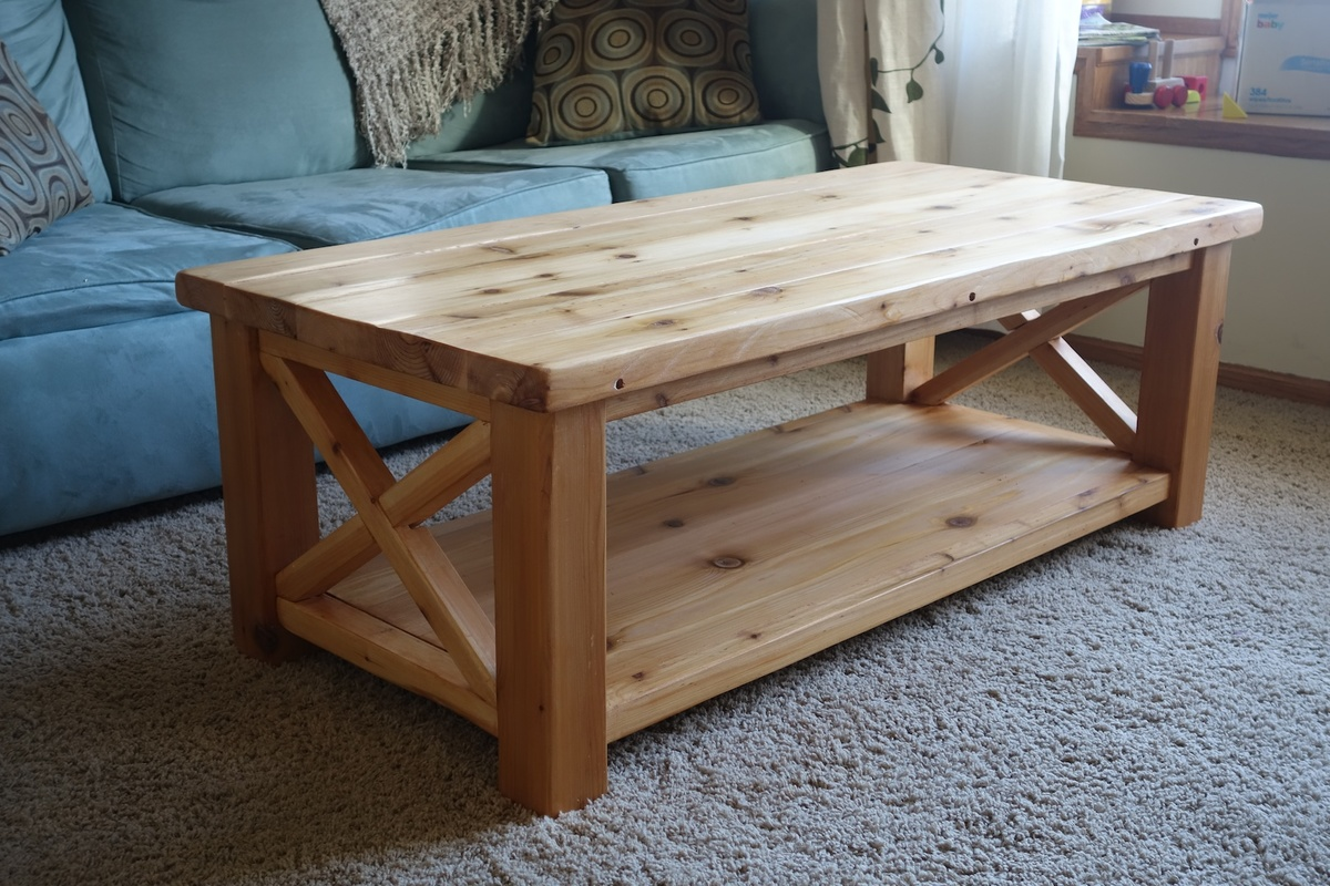 Ana white rustic x coffee table in cedar diy projects for X coffee tables