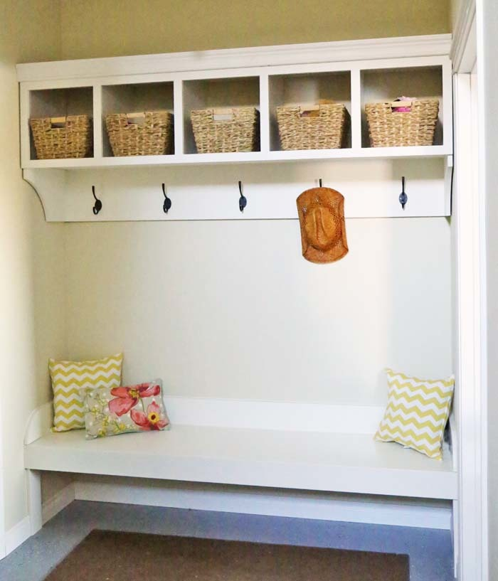 Superb Large Custom Mudroom Organizer With Cubbies And Hooks