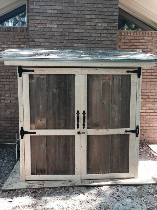 Ana white reclaimed wood outdoor storage shed diy projects for Diy garden shed