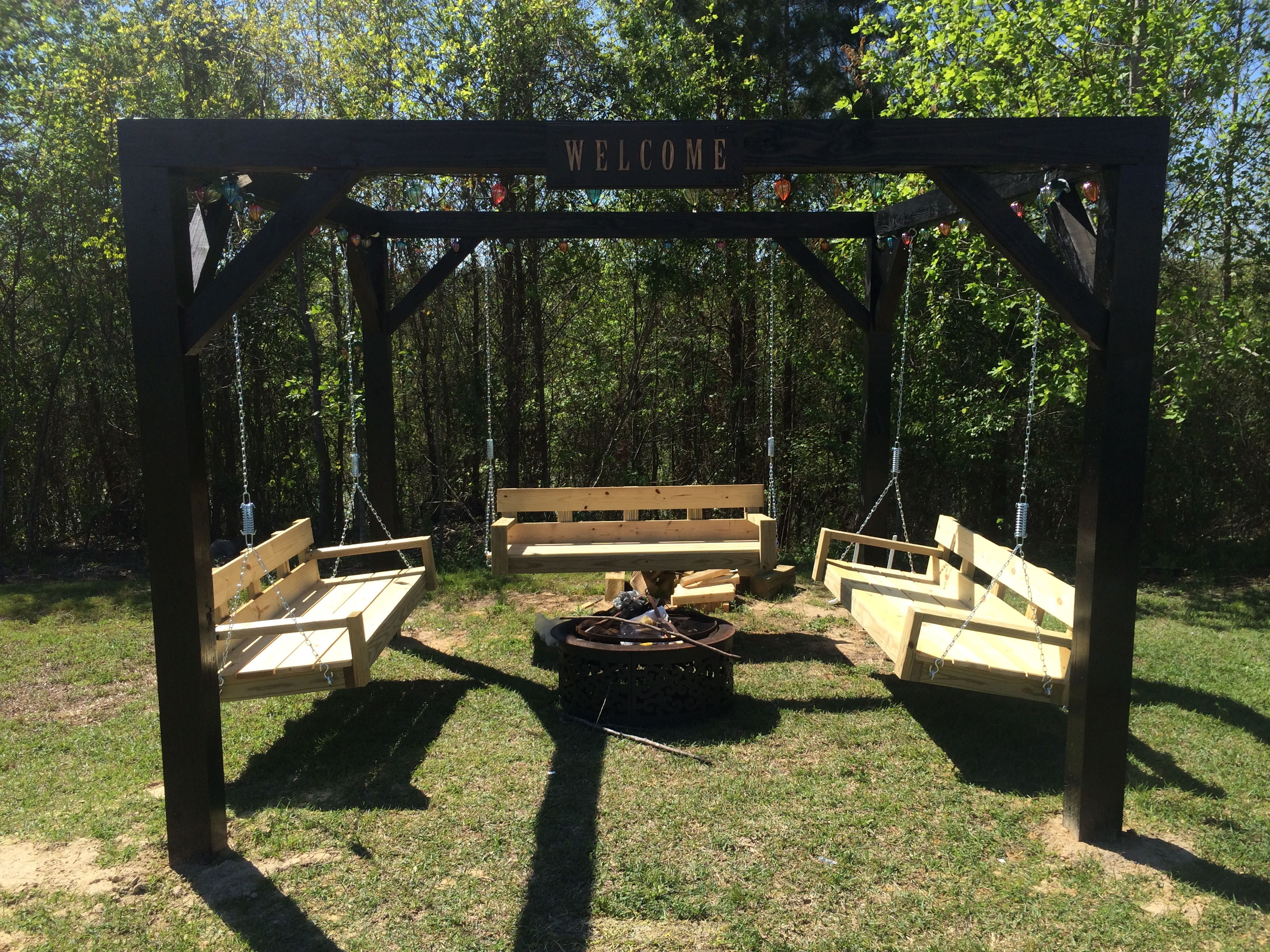 Ana white fire pit swings diy projects for How to build a swing set for adults