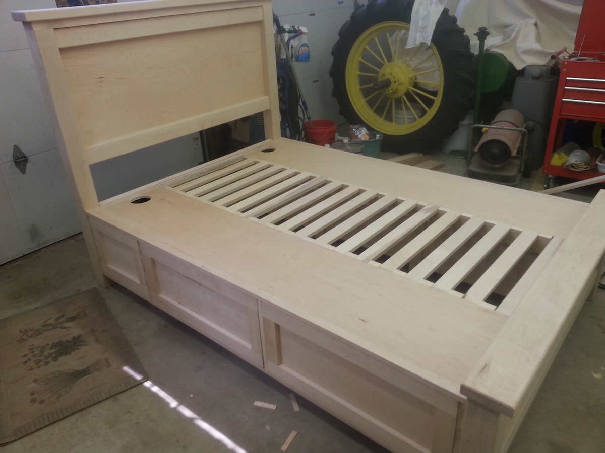 Ana White Farmhouse Storage Bed Solid Maple Diy Projects