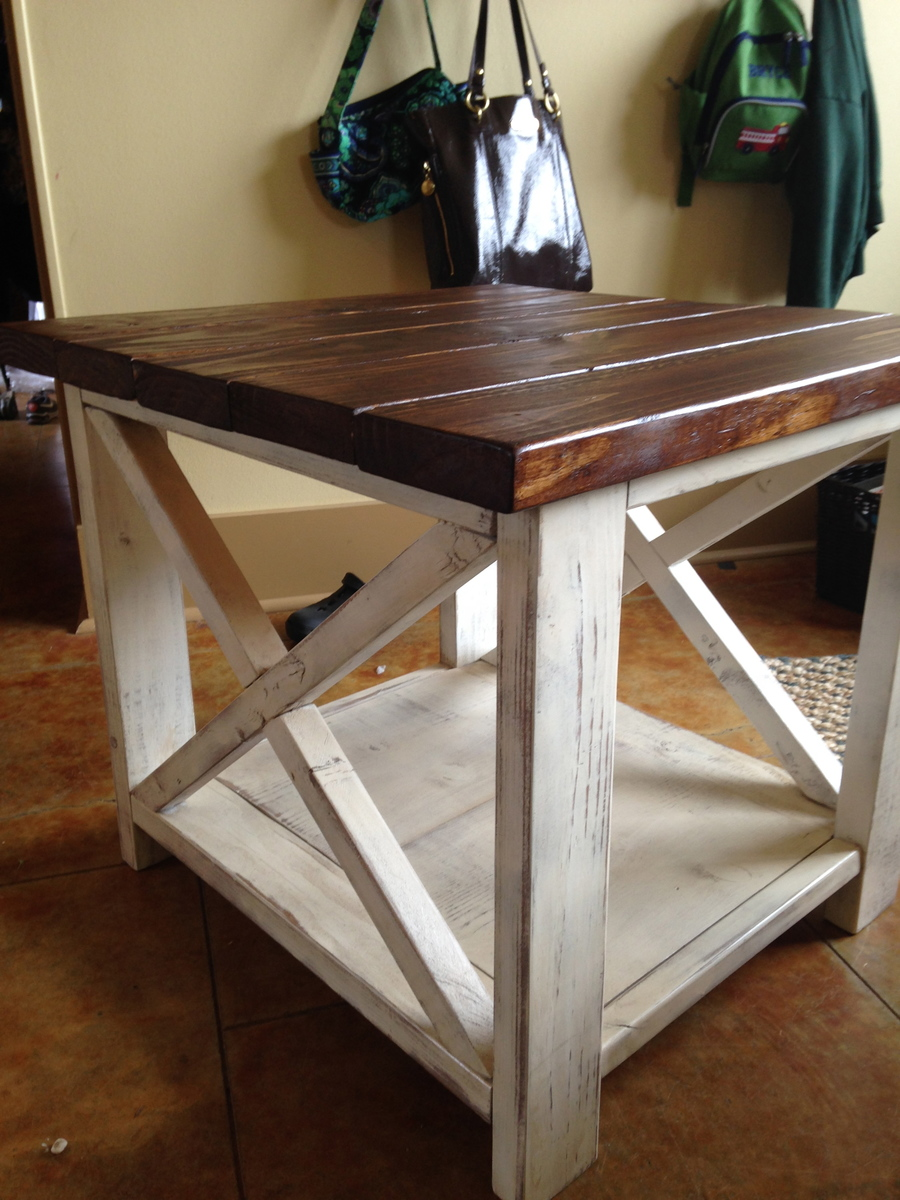 Ana white the rustic x side table diy projects for Diy coffee and end tables