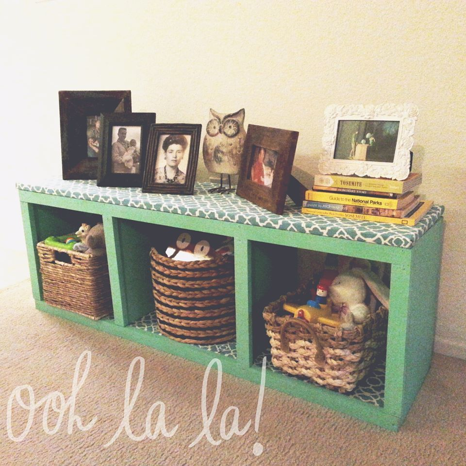 Ana White Rolling Cubby Bench Topped W Fabric Diy Projects