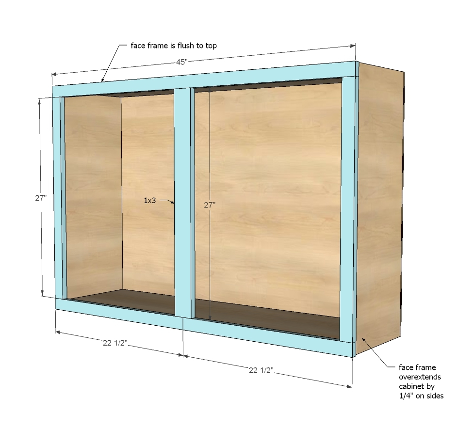 "Kitchen Cabinet Drawings: 45"" Wall Kitchen Cabinet - DIY Projects"