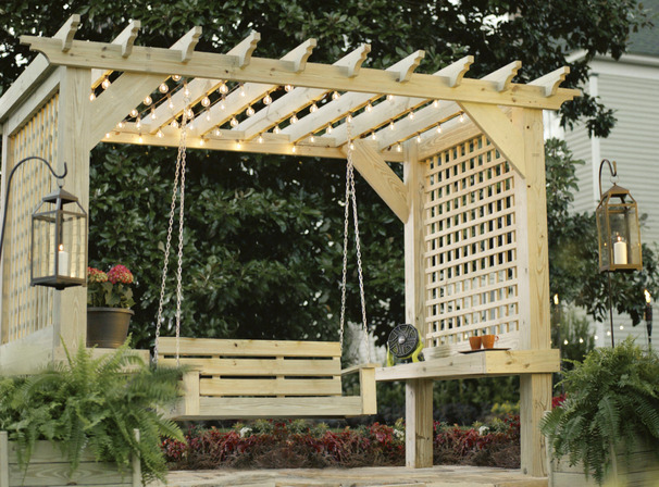 Ana white ryobi commercial pergola diy projects for Easy porch swing