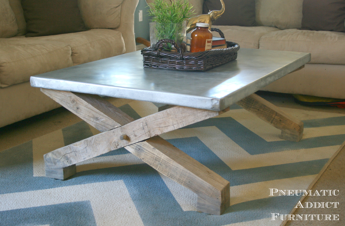Ana White Pottery Barn KnockOff Zinc Coffee Table DIY Projects - Pottery barn concrete coffee table