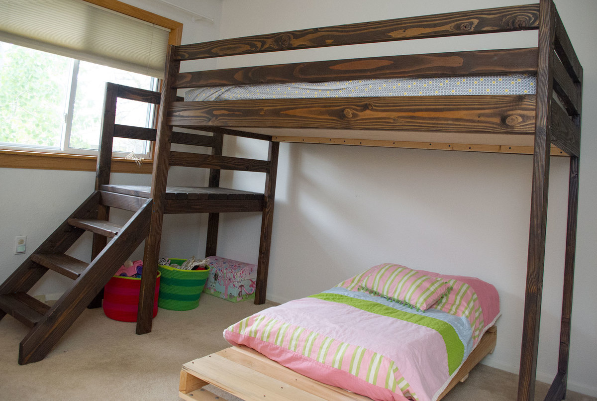 Ana White | Camp loft bed with stairs - DIY Projects