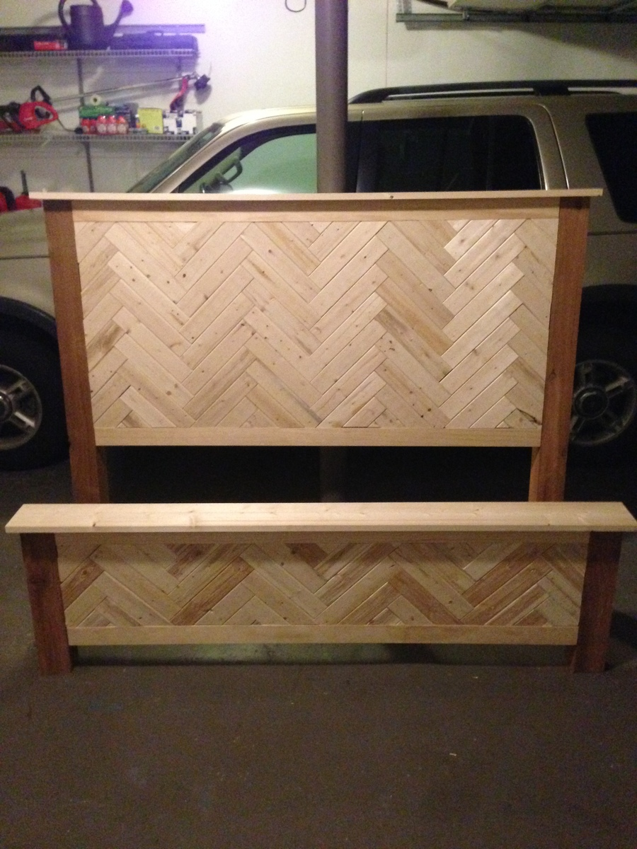 Ana White Diy Herringbone Cassidy Queen Bed Diy Projects