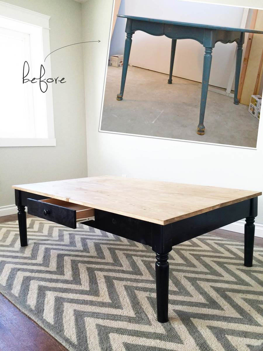 Ana white turned leg coffee table with apron drawer diy projects upcycle old table legs into a coffee table geotapseo Choice Image