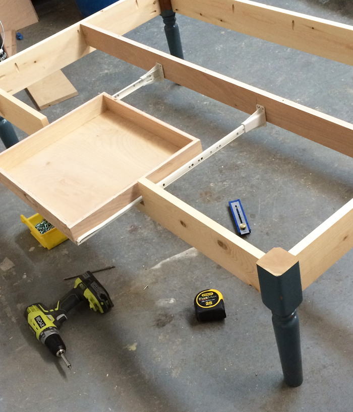 Turned Leg Coffee Table With Apron Drawer Ana White