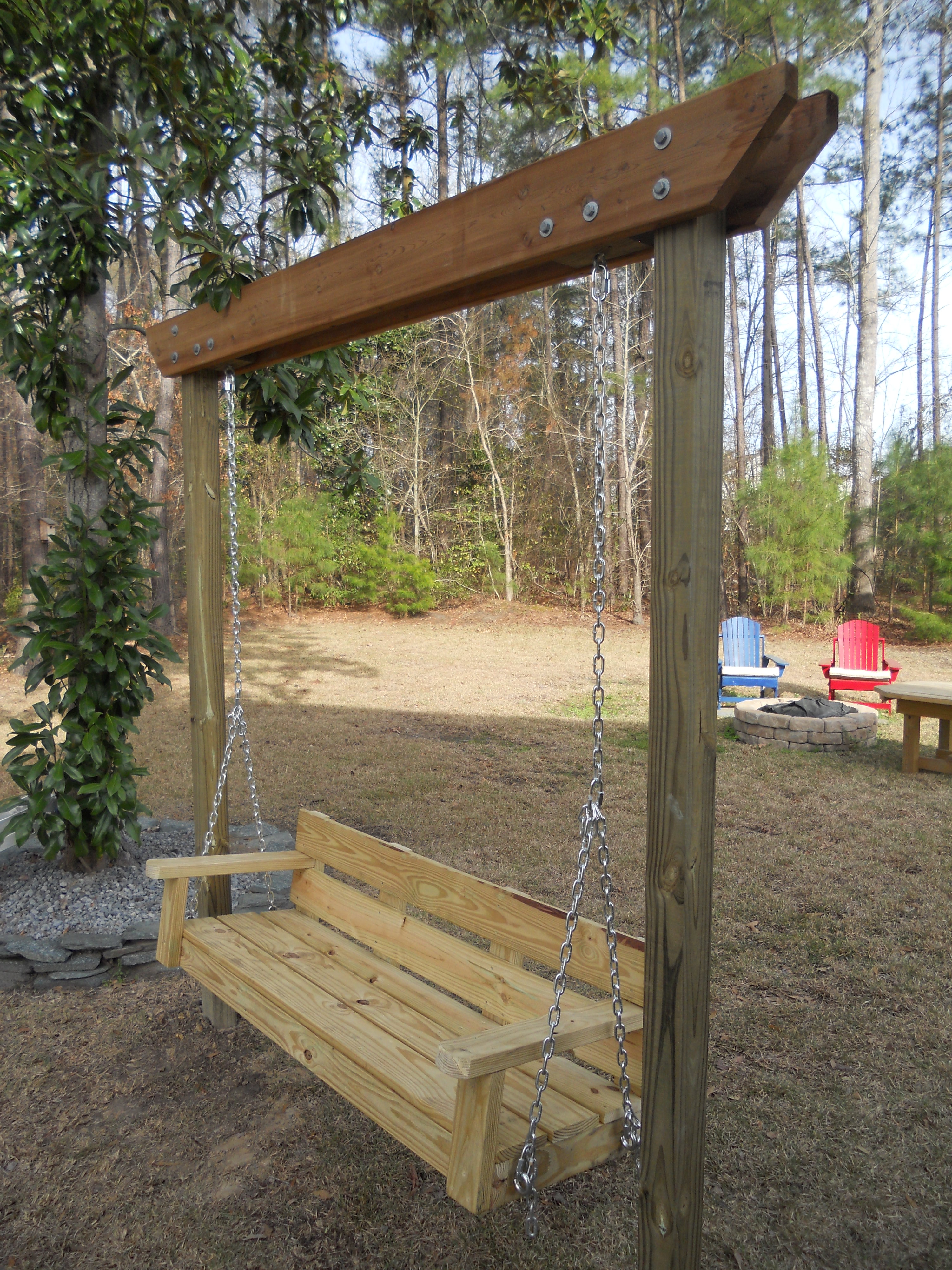 Ana white modified bench swing diy projects for Log swing plans
