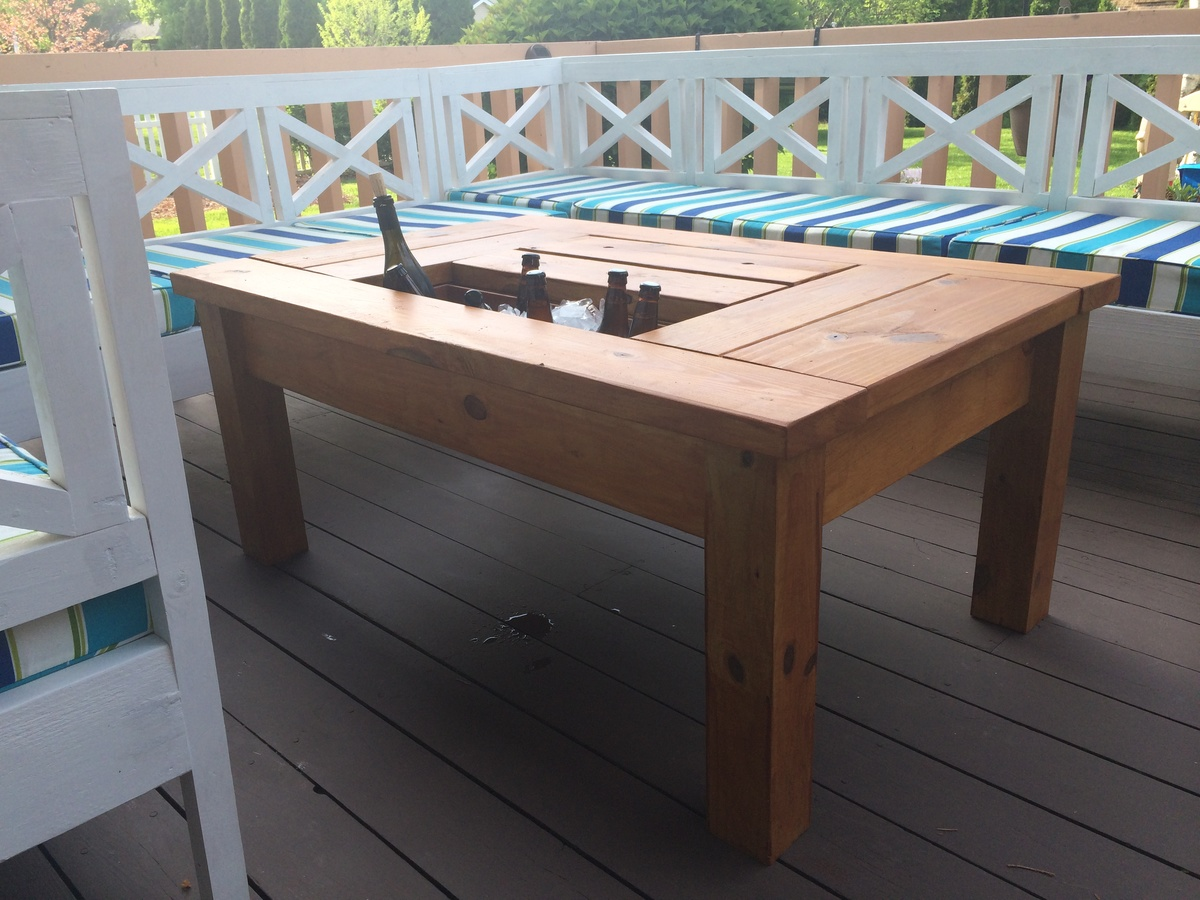 Ana White Patio Table With Built In Beer Wine Coolers