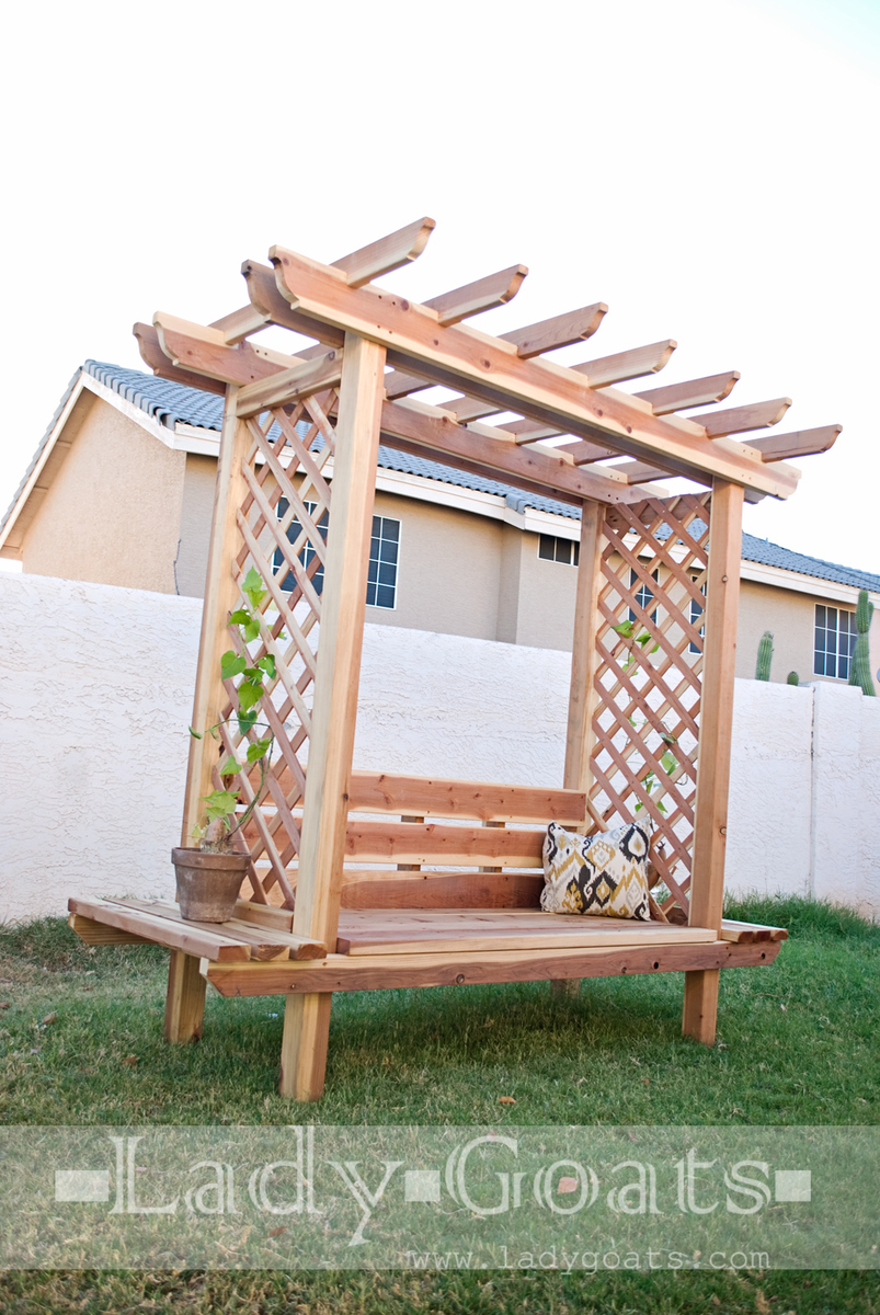 Ana White | Outdoor Bench with Arbor - DIY Projects on build gazebo, build garden furniture, build garden bed, build wooden benches, build garden fountain, build garden stool, build pond, build garden table, build garden bridge, build garden wall, build garden door, build garden box, build garden chair, build garden storage, build garden fence, build garden terrace,