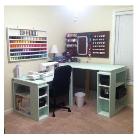 Ana white sewing cutting table diy projects for Corner craft table with storage