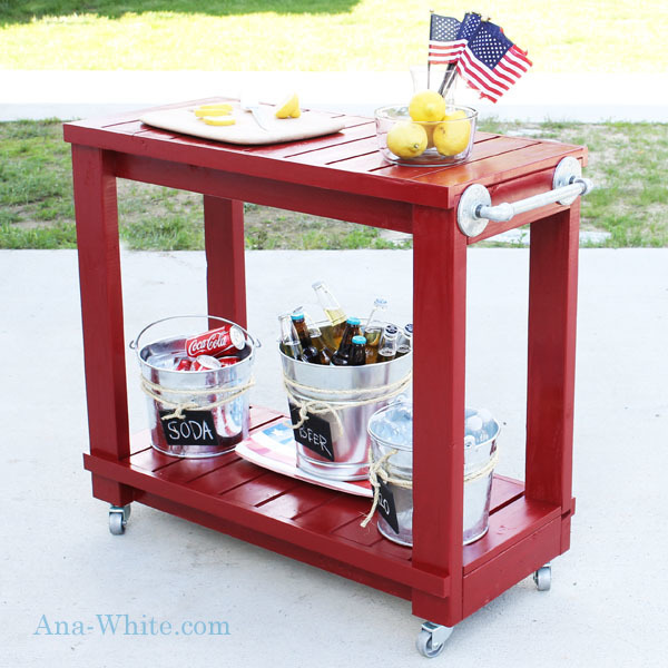 red bar cart with towel bar