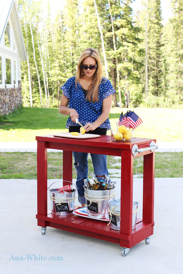 Diy Rolling Outdoor Bar Cart Plans From Ana White