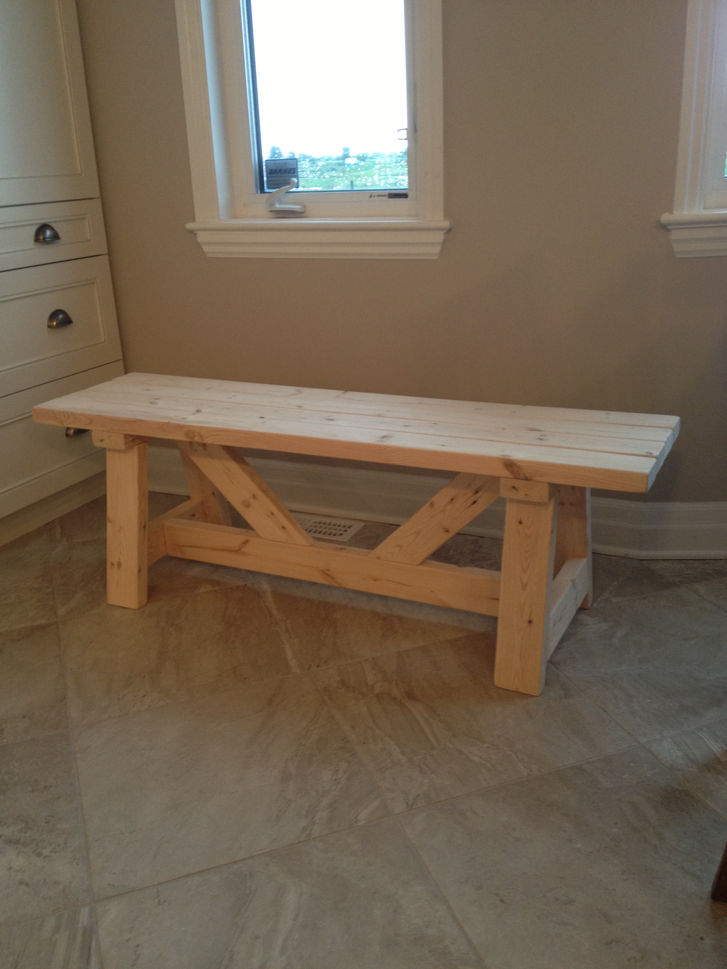 Ana white farmhouse bench in 1 day diy projects for How to make a wooden table at home