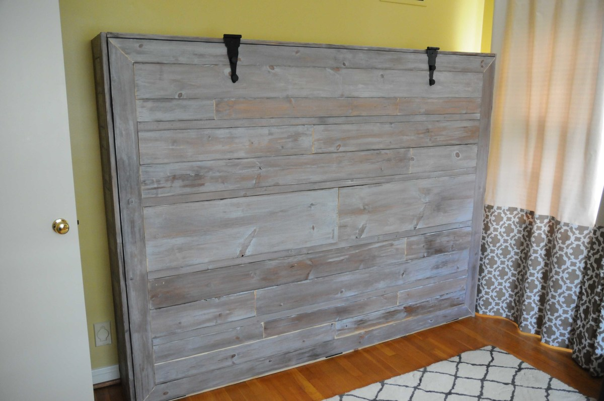 Ana white rustic queen sized wall bed diy projects for Diy rustic bunk beds