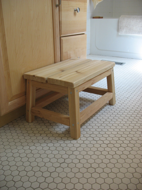 Cedar Spa Bathroom Step Stool