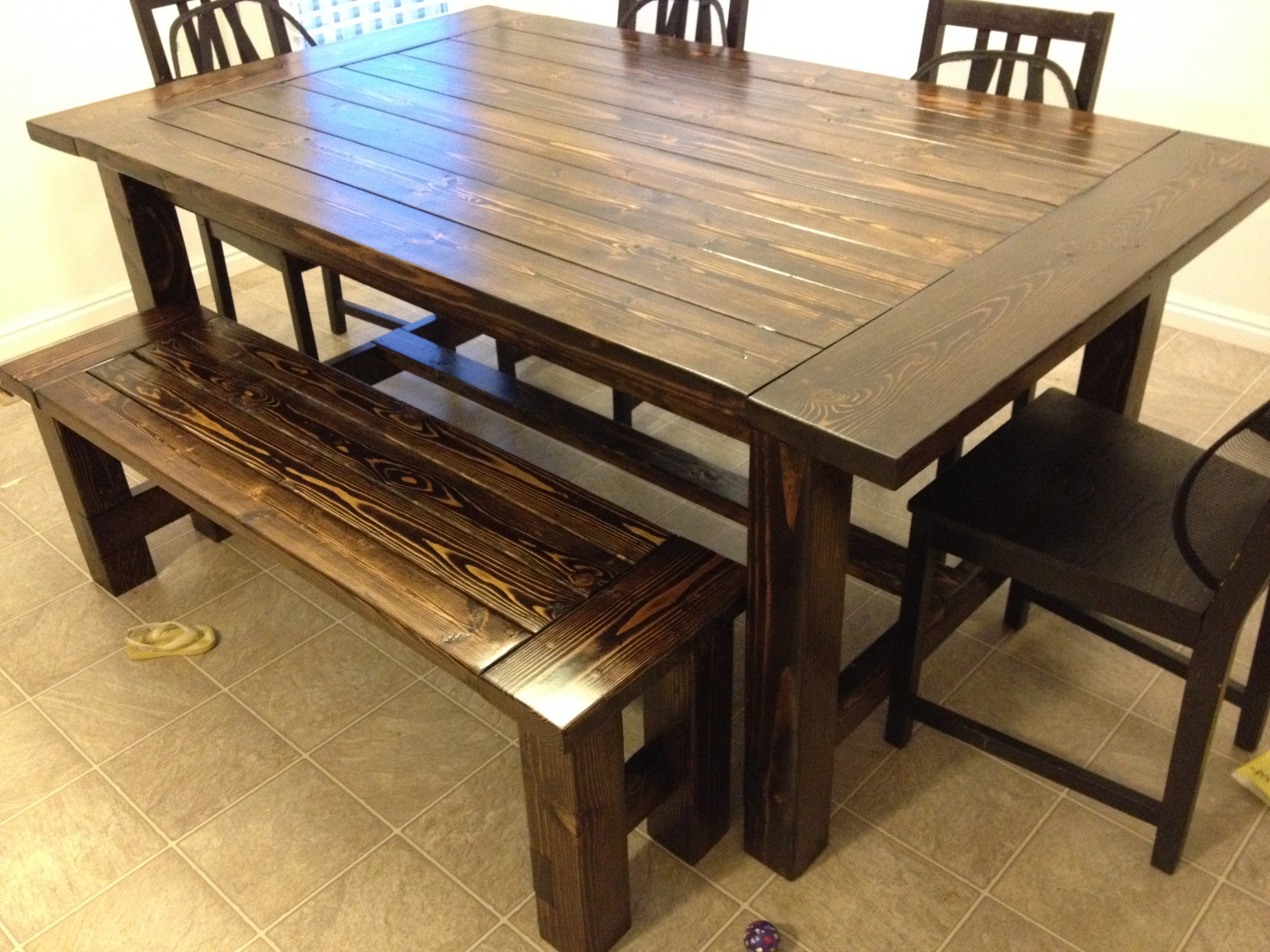 Ana white farmhouse table and bench diy projects for Kitchen table with bench