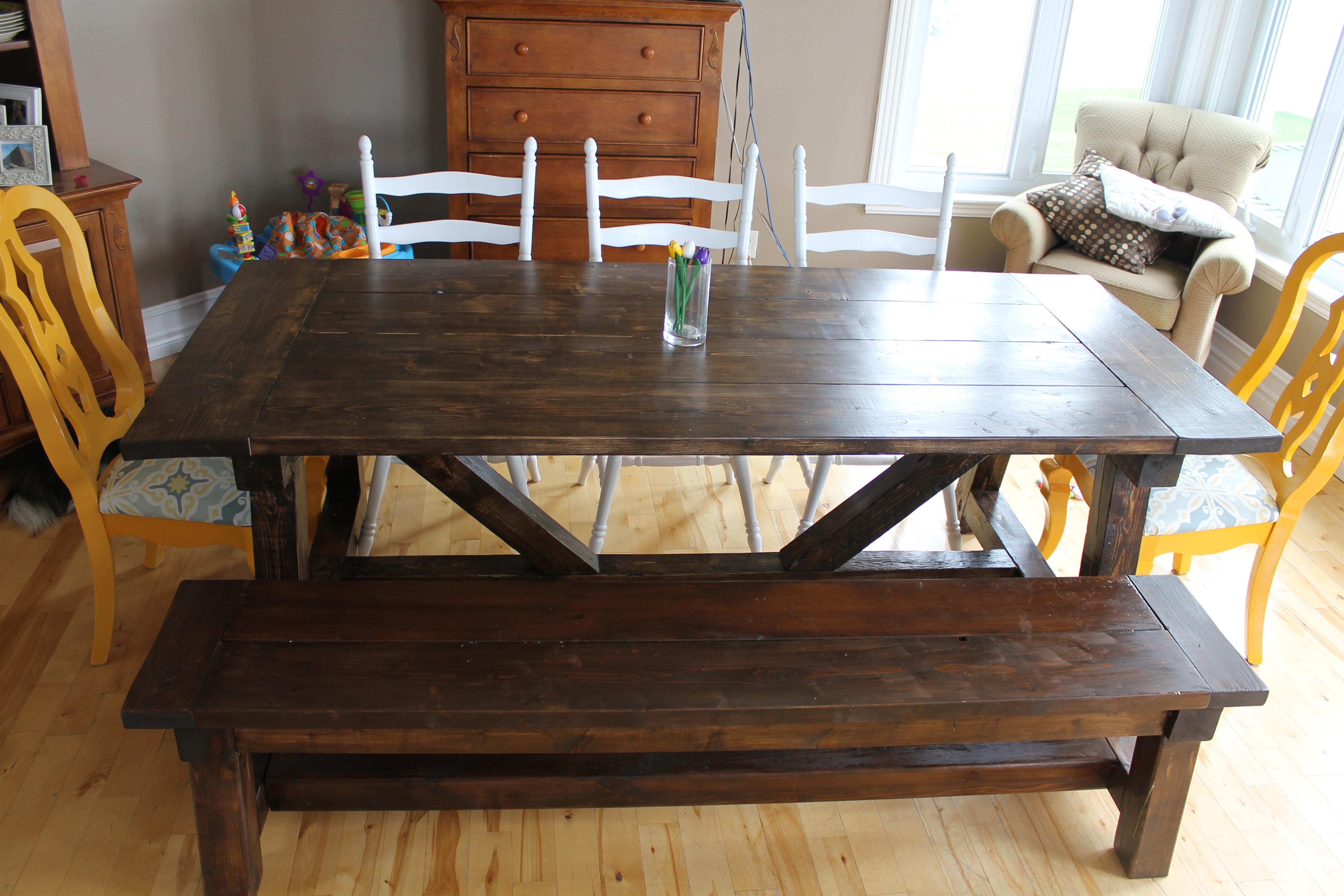Phenomenal 4X4 Truss Beam Table And Bench Ana White Machost Co Dining Chair Design Ideas Machostcouk