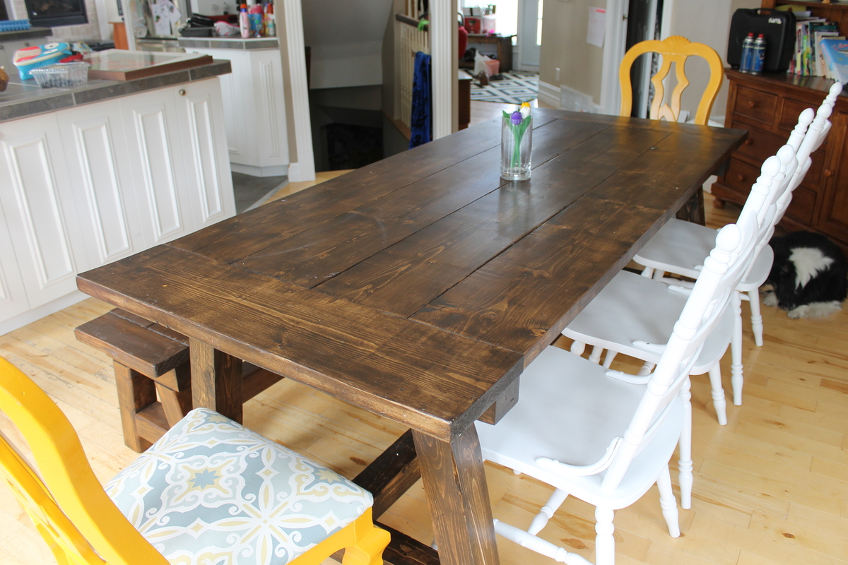 Ana White 4x4 Truss Beam Table And Bench Diy Projects
