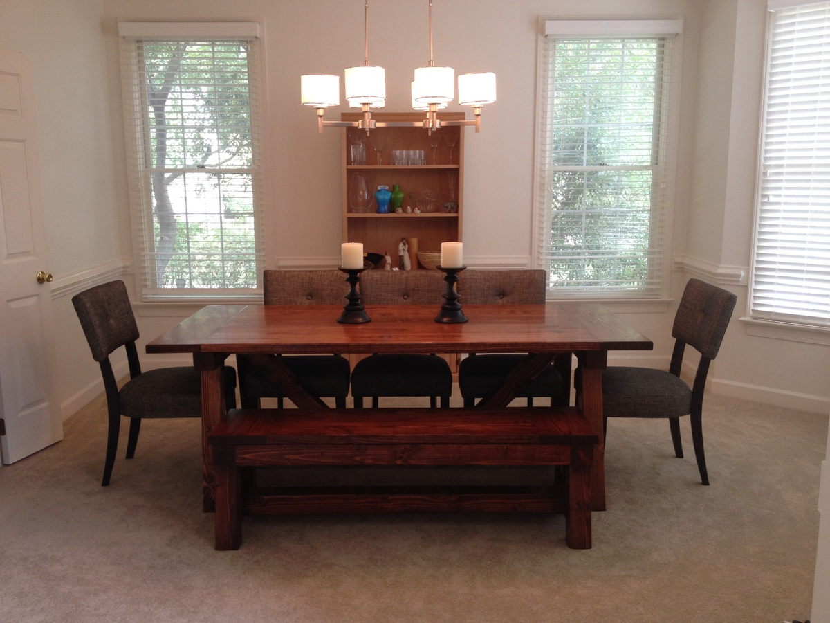 Ana White 4x4 Truss Dining Room Table And Bench Diy