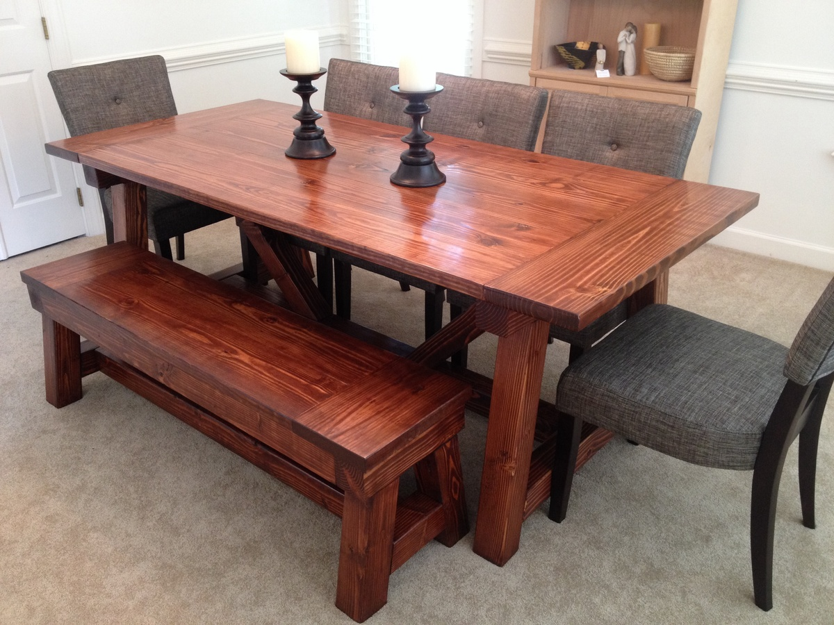 4x4 Truss Dining Room Table And Bench