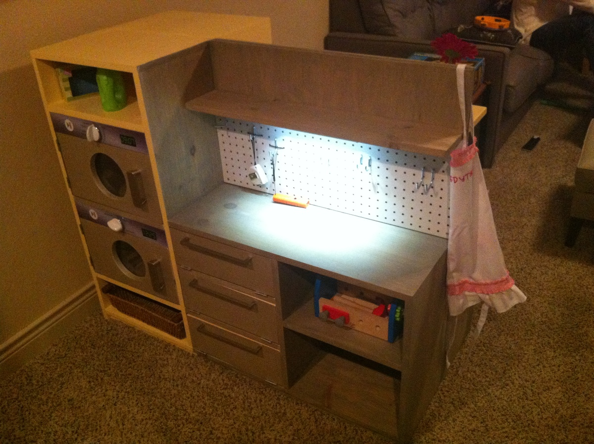 Es Play Kitchen AND Garage Workbench And Laundry