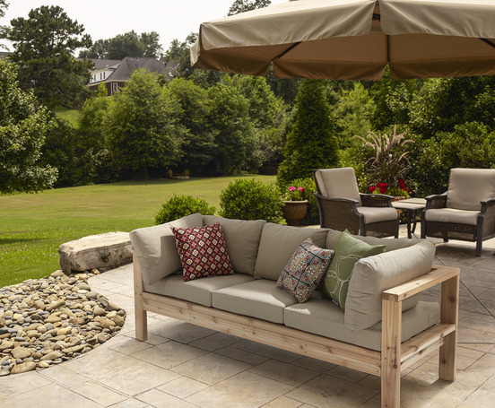 ana white outdoor sofa from 2x4s for ryobi nation diy. Black Bedroom Furniture Sets. Home Design Ideas