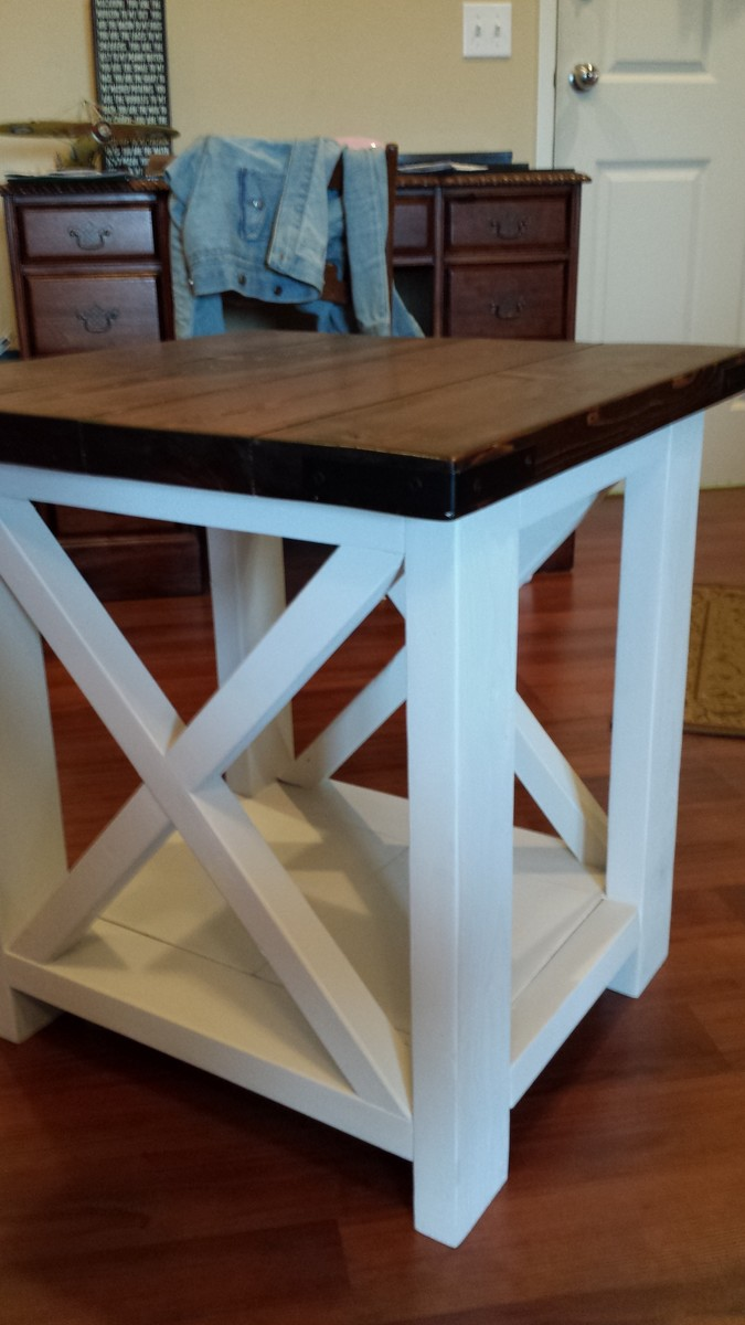 Ana white rustic x coffee and end table diy projects for Diy coffee and end tables