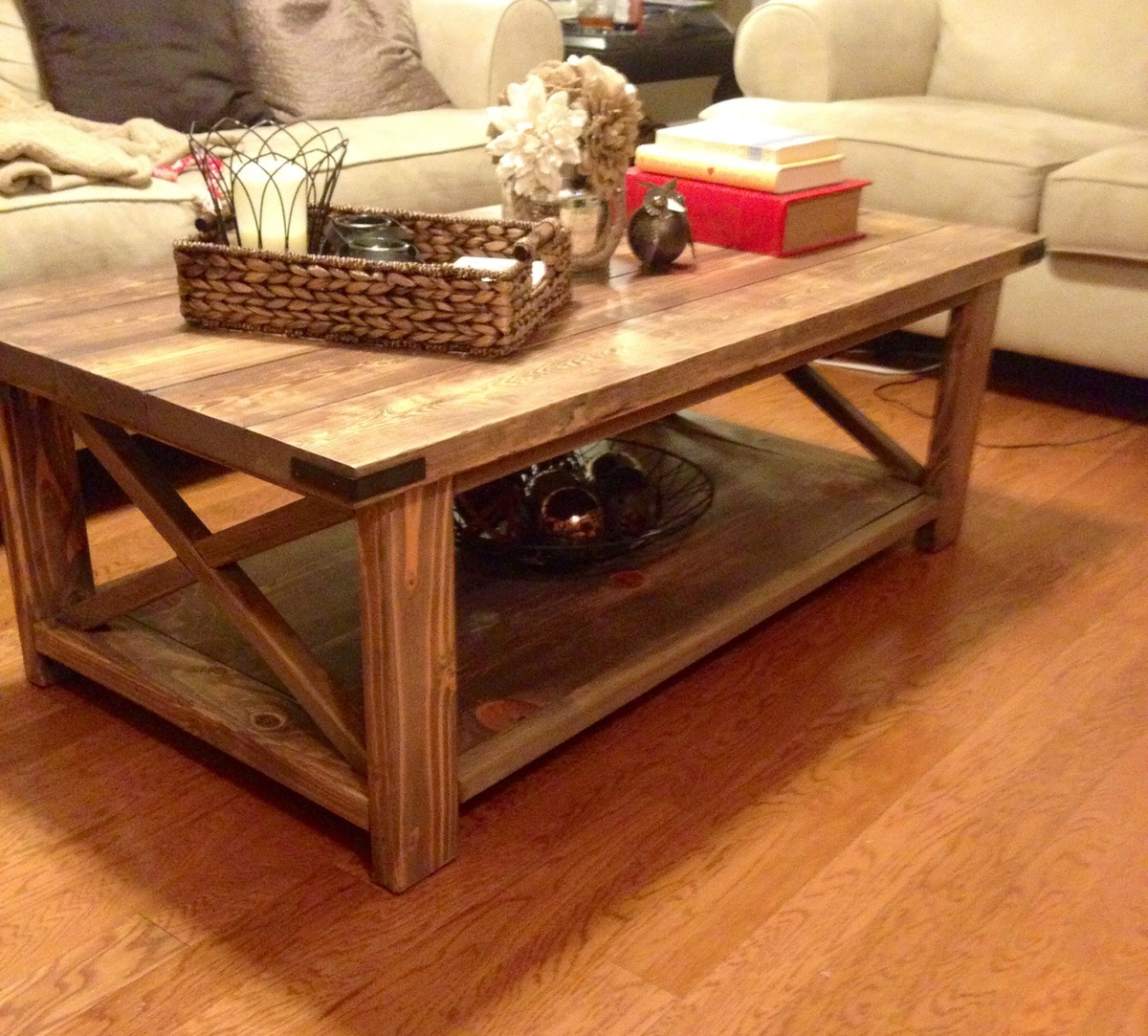 Ana White Rustic X Coffee Table DIY Projects - Rustic cream coffee table