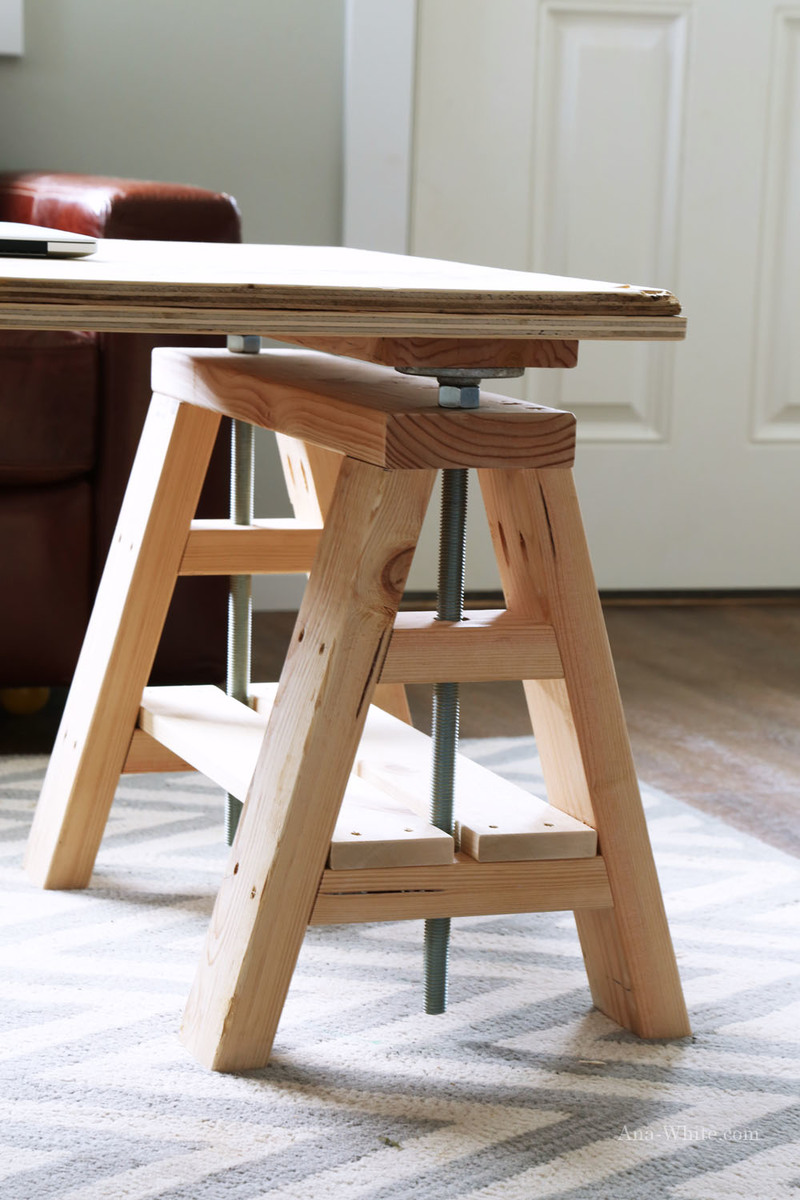 Ana White Modern Indsutrial Adjustable Sawhorse Desk To