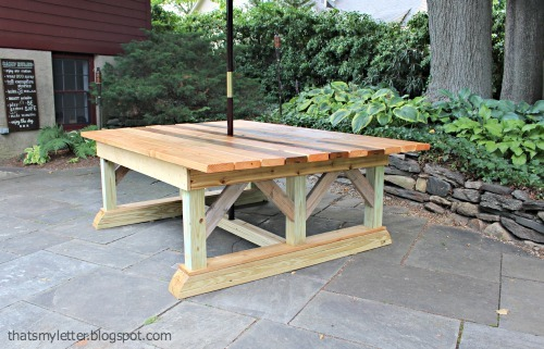 Ana white double trestle outdoor table diy projects for Post trestle farm table plans