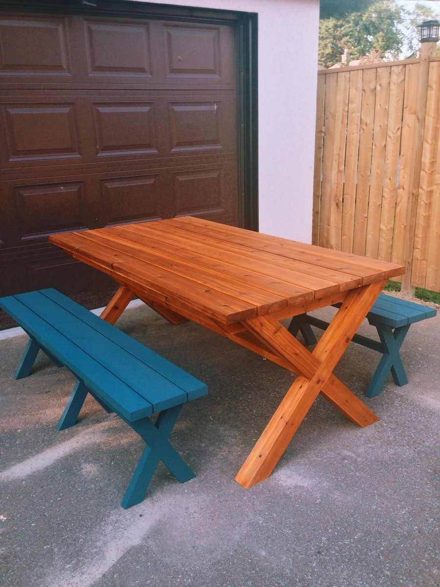 Ana white outdoor table and benches first project for Ana white table bench