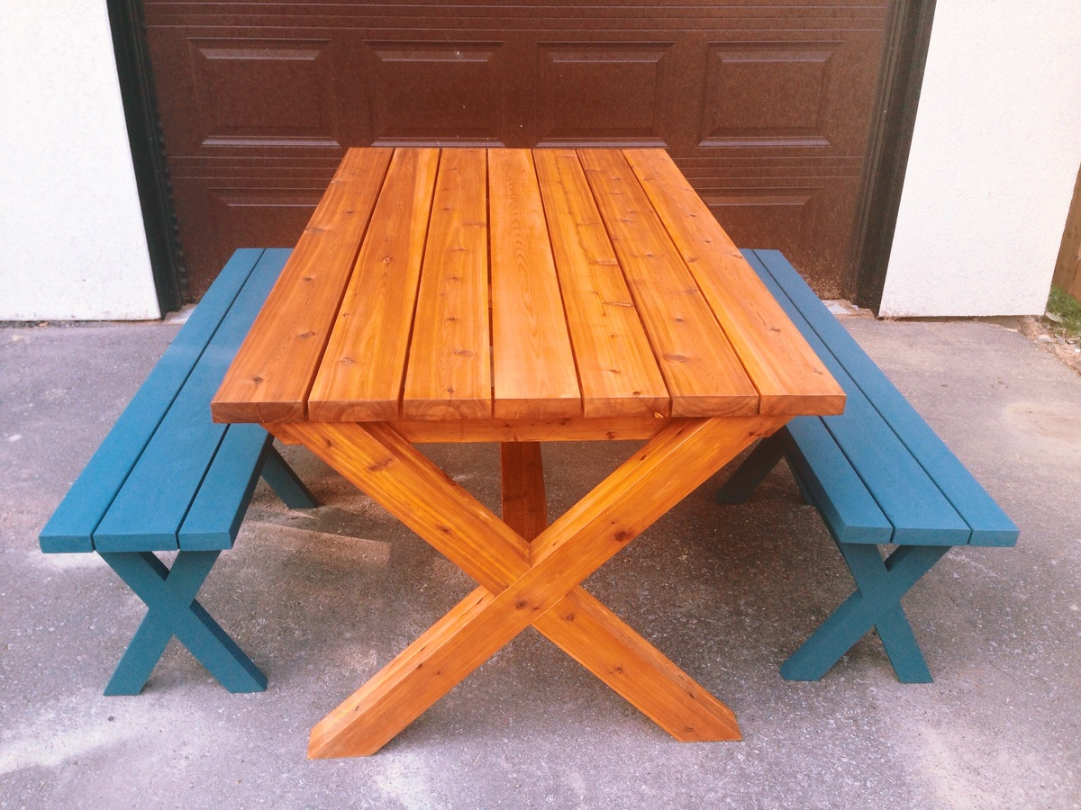 Ana White Outdoor Table And Benches First Project