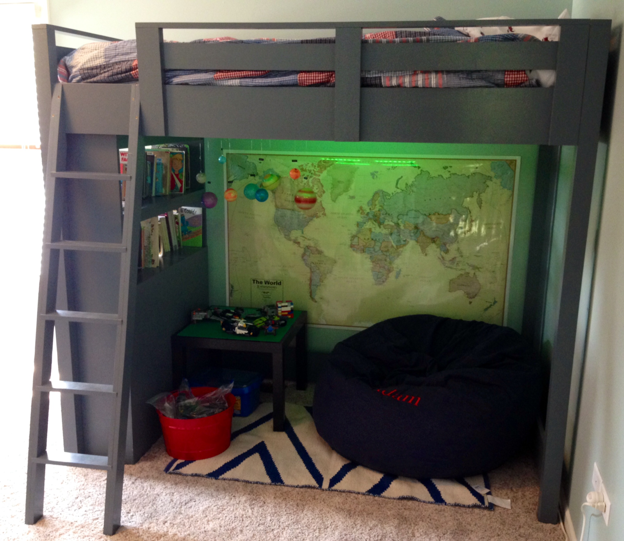 ana white loft bed with shelves diy projects. Black Bedroom Furniture Sets. Home Design Ideas