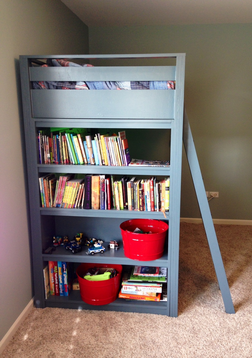 Ana White Loft Bed With Shelves Diy Projects