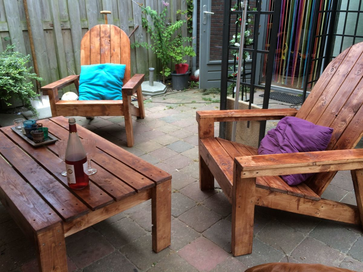 Ana White Adirondack Chairs And Table Diy Projects