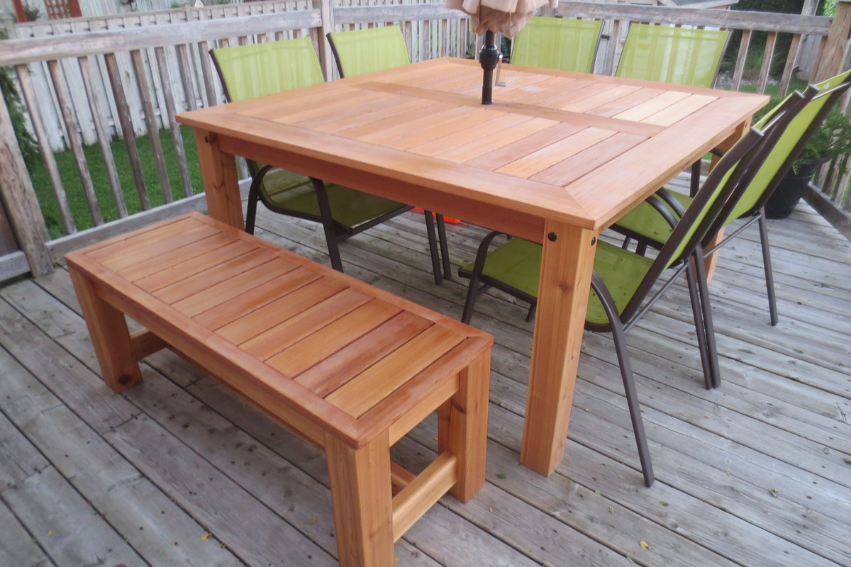 Ana white cedar patio table diy projects for Patio furniture designs plans