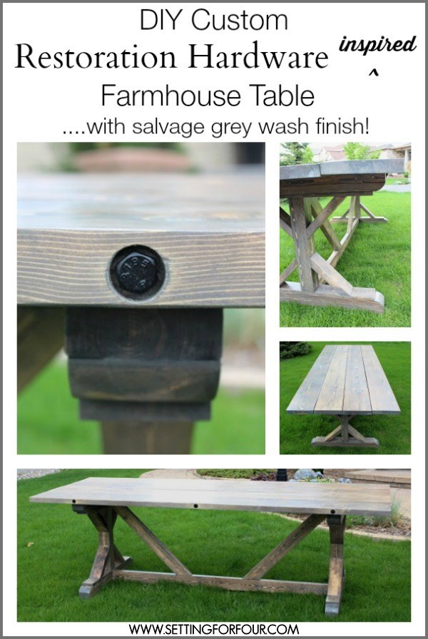 $157 Custom Farmhouse Table With Bolted Plank Top   Restoration Hardware  Inspired With Salvage Grey Wash Finish