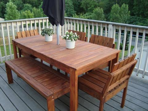 ana white simple outdoor dining table diy projects - Garden Furniture Decking