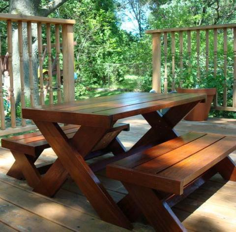 ... White | Build A Modern Kid's Picnic Table, or X Benches - DIY Projects