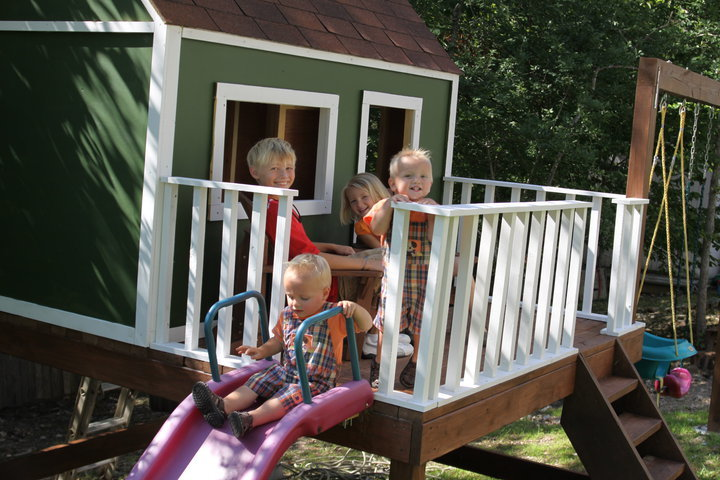 Ana white playhouse deck options diy projects for How to build a 2 story playhouse