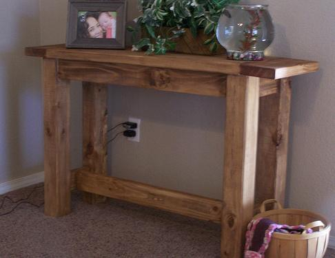 Ana white tryde console table diy projects console table in just a few hours featuring a stretcher and sturdy design with breadboard ends this well thought out plan has been built hundreds of watchthetrailerfo