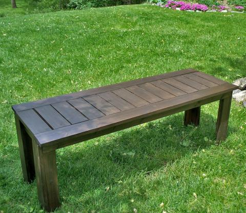 Ana white build a simple outdoor bench diy projects for Diy garden table designs