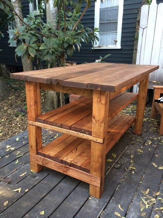 Rustic Kitchen Island - Built by House Food Baby | Ana White