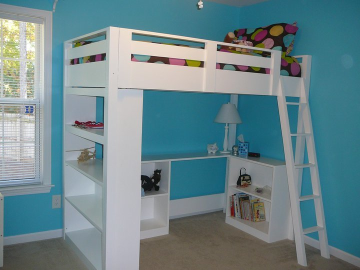 loft bed with storage in blue bedroom